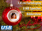 Weihnachtskugel mit digit. Bilderrahmen & LCD-Uhr